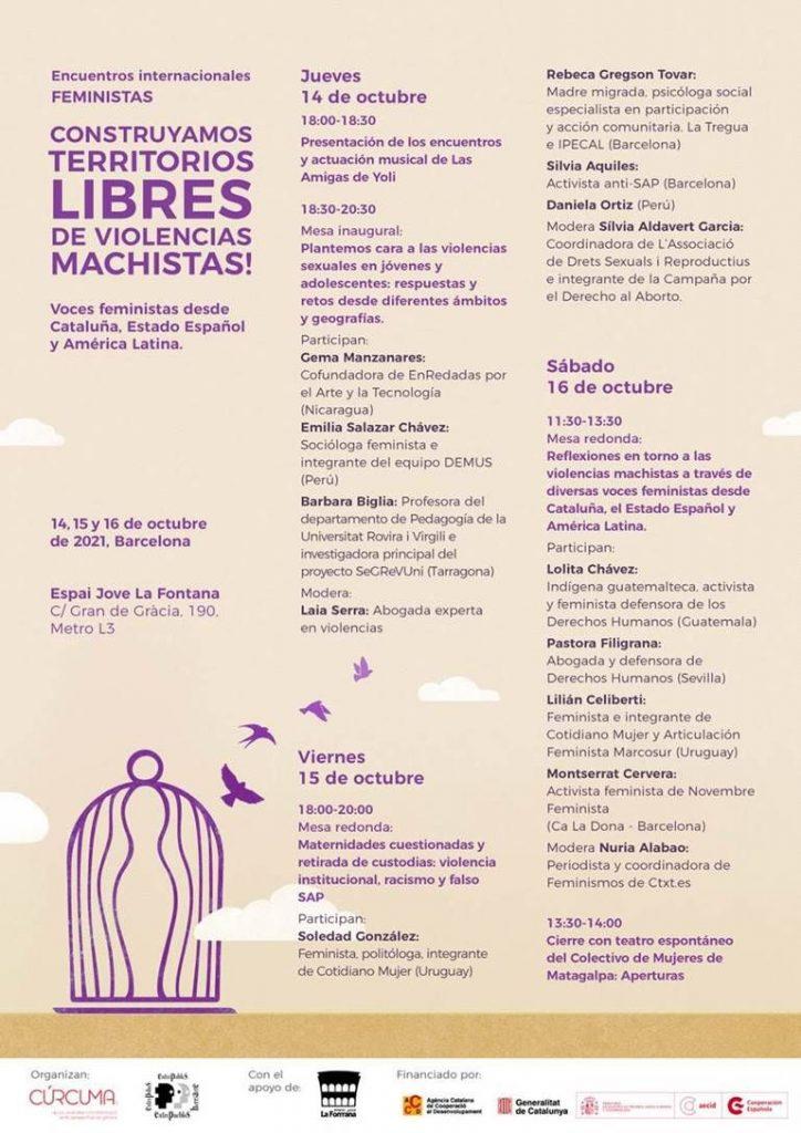 Programa encuentros internacionales feministas Entrepueblos y Cooperativa Cúrcuma